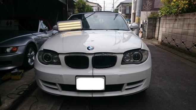 BMW120iカブリオレのボンネットに出来たヘコミをデントリペアで修理 東京都板橋区