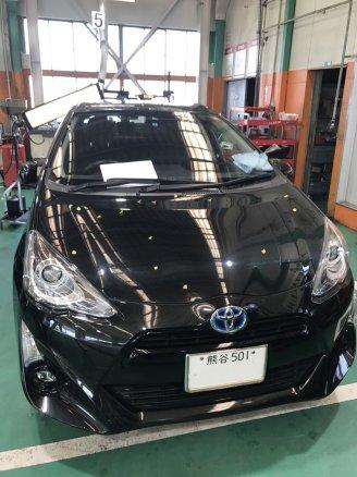 埼玉県本庄市にて アクアの雹害車(ひょうがいしゃ)をデントリペアで修理